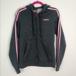 Adidas Pink & Slate Grey Zip Up Hoodie Sweater M